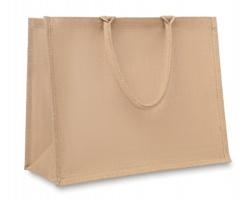 Laminovaná nákupní taška z juty PINTERE s pevnými uchy - béžová