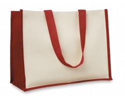 Jutová nákupní taška LETHE s dlouhými uchy - červená