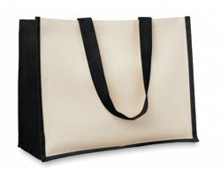 Jutová nákupní taška LETHE s dlouhými uchy - černá