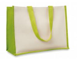 Jutová nákupní taška LETHE s dlouhými uchy - limetková