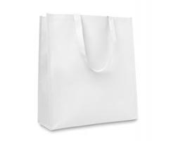 Tkaná metalická nákupní taška ALINE s dlouhými popruhy - bílá