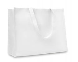Tkaná metalická nákupní taška QUERS s dlouhými popruhy - bílá