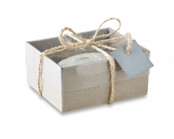 Aromatická svíčka ROCKETO tvaru kamene v dárkové krabičce - šedá