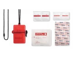 Voděodolná pohotovostní lékárnička COEDS s 11 doplňky - transparentní červená