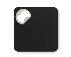 Čtvercový tácek pod sklenici PAID s integrovaným otvírákem lahví - černá