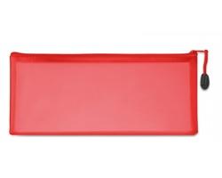 Plastový transparentní penál HUHO na psací potřeby - červená
