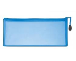 Plastový transparentní penál HUHO na psací potřeby - modrá