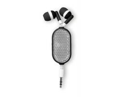Navíjecí sluchátka typu pecky OINK s reflexní odrazkou - černá