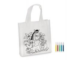 Netkaná mini nákupní taška s omalovánkou JUNGLE s barevnými fixy, 5 ks - bílá