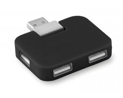 Plastový USB rozbočovač TRUER pro 4 USB flash disky - černá