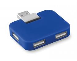 Plastový USB rozbočovač TRUER pro 4 USB flash disky - královská modrá