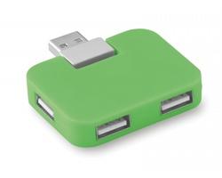Plastový USB rozbočovač TRUER pro 4 USB flash disky - limetková