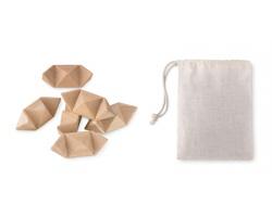 Dřevěný hlavolam JUTS ve tvaru hvězdy v bavlněném pouzdru - hnědá (dřevo)