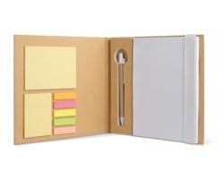 Recyklovaný poznámkový blok CARSON, A5 s kancelářskými doplňky - bílá