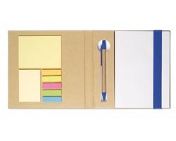 Recyklovaný poznámkový blok CARSON, A5 s kancelářskými doplňky - královská modrá