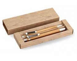 Bambusová psací sada JESTS s perem a tužkou - hnědá (dřevo)
