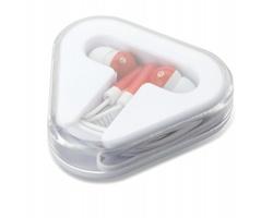 Plastová sluchátka KINK v pouzdru - červená