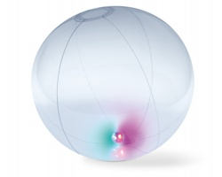Nafukovací plážový míč WIDE s vnitřním světlem - transparentní