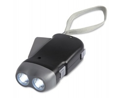 Plastová dynamo LED svítilna ASCUS se 2 světly - černá