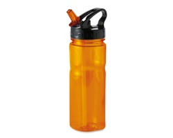 Sportovní láhev BRAVO s brčkem, 600ml - transparentní oranžová