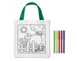 Bavlněná taška CRIS s 5 barevnými fixy - bílá