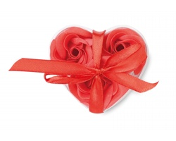 Sada mýdel ADRIANE v krabičce ve tvaru srdce, 3ks - červená