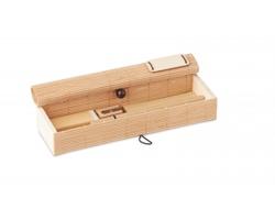 Bambusová sada psacích potřeb SQUIB, 7 komponentů - hnědá (dřevo)
