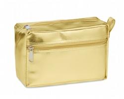 Metalická dámská kosmetická taška NUFI s poutkem - zlatá
