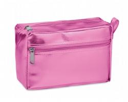 Metalická dámská kosmetická taška NUFI s poutkem - růžová