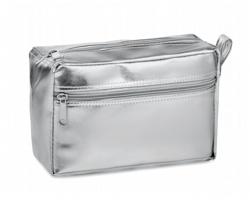 Metalická dámská kosmetická taška NUFI s poutkem - stříbrná