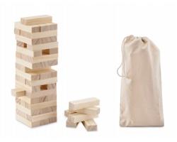 Dřevěná hra Stavění věže MELUHA - hnědá (dřevo)