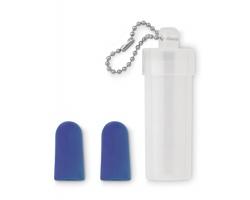 Špunty do uší OREFIELD v plastovém pouzdru s řetízkem - modrá