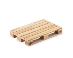 Dřevěný podtácek ZEST tvaru mini palety - hnědá (dřevo)
