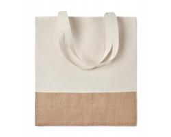 Látková nákupní taška WEAVER s jutovými detaily - béžová