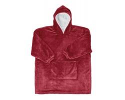 Fleecová deka YAWN ve formě mikiny - bordó