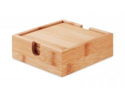 Sada 4 bambusových podtácků STERN - hnědá (dřevo)