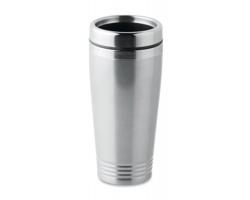 Nerezový cestovní hrnek BANGS, 400 ml - matně stříbrná