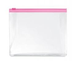 Transparentní kosmetická taška ILEX se zipem - transparentní fuchsie