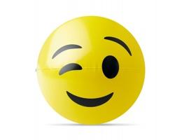 Nafukovací plážový míč LEHR s emotikonem - žlutá