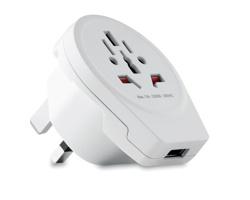 Plastový adaptér do zásuvky FURZE s USB konektorem - bílá