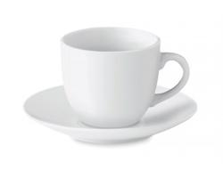 Porcelánový hrnek na espresso EMAIL s podšálkem, 80 ml - bílá