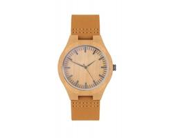 Analogové náramkové hodinky SALSA s koženým páskem - dřevěná