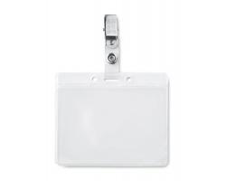 Plastové pouzdro na ID kartu SPACIOUS s kovovým klipem - transparentní