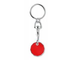 Kovový přívěsek AMPUL s žetonem do nákupního košíku - červená