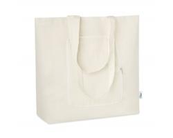 Látková skládací nákupní taška PEKE z recyklovaného materiálu - béžová
