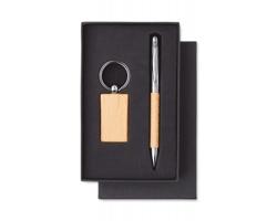 Sada kuličkového pera a přívěsku na klíče CHOWS s dřevěnými detaily - dřevěná