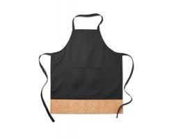 Kuchyňská zástěra AMELIA s korkovým detailem - černá
