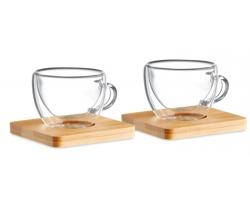 Sada dvou šálků na espresso FLAWS s bambusovými podtácky - transparentní