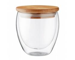 Dvoustěnná sklenice UPCOM s bambusovým víčkem, 250 ml - transparentní