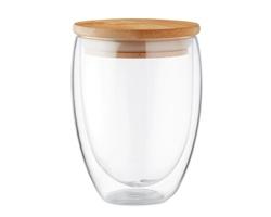 Dvoustěnná sklenice GOOSE s bambusovým víčkem, 350 ml - transparentní